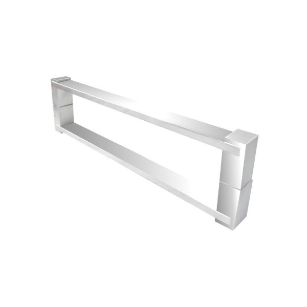 Puxador aço inox polido para portas vidro temperado/madeira 700DE [duplo] 80 cm Grego Metal