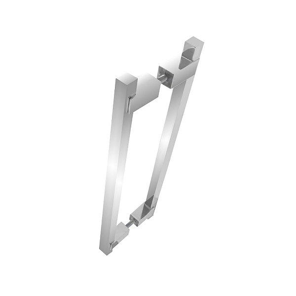 Puxador duplo para portas de madeira vidro 30 cm escovado 100PM Grego Metal