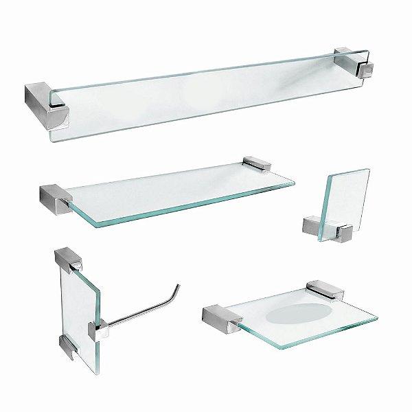 Kit de Banheiro em vidro com Prateleira Classic 601CL Grego Metal