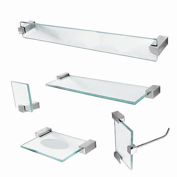 Kit para Banheiro de Vidro Prateleira 5 Peças Classic 601CLA Grego Metal
