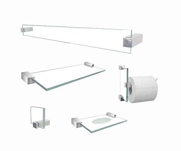 Jogo de banheiro acessórios Classic 601CLB vidro incolor 5 peças Grego Metal