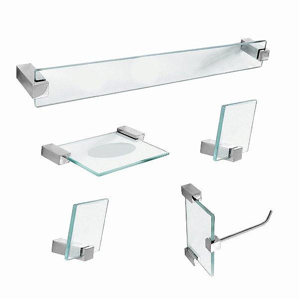 Kit Acessórios para Banheiro em Vidro 5 Peças Classic 602CL
