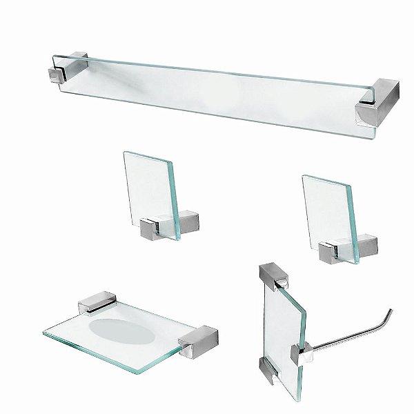 Kit Acessórios para Banheiro Vidro 5 Peças Classic 602CLA