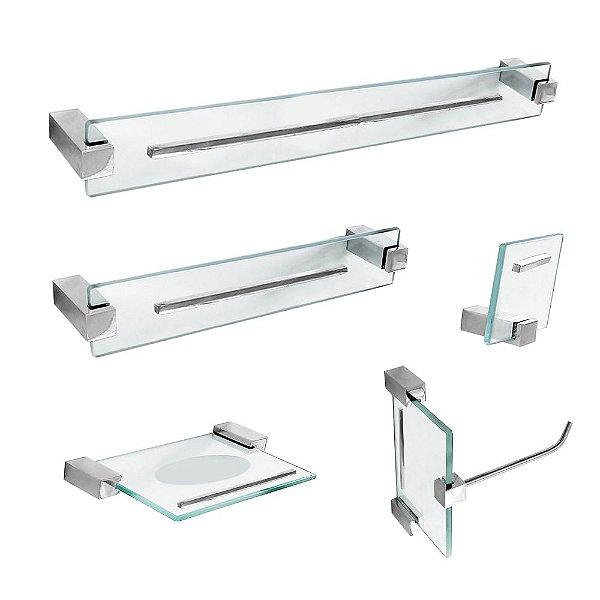 Kit de Banheiro Acessórios em Vidro 5 Peças Exclusive 700EX Grego Metal