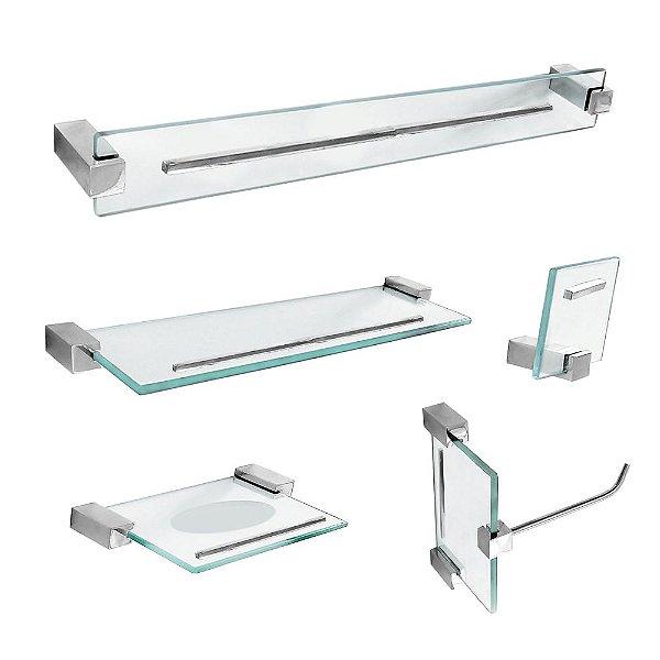 Kit Acessórios para Banheiro Vidro com Porta Shampoo 5 Peças Exclusive 701EXA