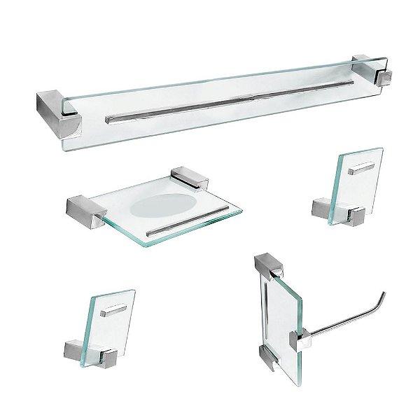 Kit para Banheiro em Vidro Detalhe 5 Peças Exclusive 702EX Grego Metal