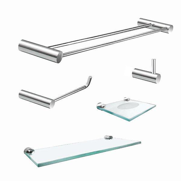 Kit Acessórios para Banheiro Duplo com Prateleira Luxo Plus 504LPA