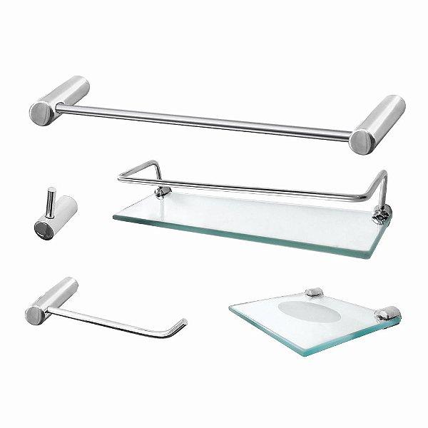 Kit de Banheiro com Porta Shampoo 5 Peças Luxo Slim 502LSC Grego Metal