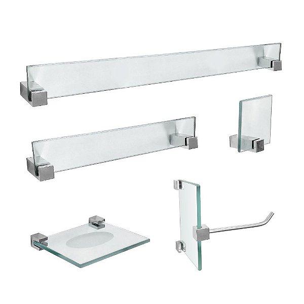 Kit Acessórios para Banheiro em Vidro 5 Peças Vitralle 419VT