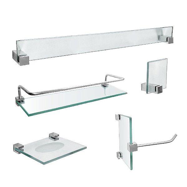 Kit de Banheiro em Vidro com Porta Shampoo Vitralle 421VTA Grego Metal
