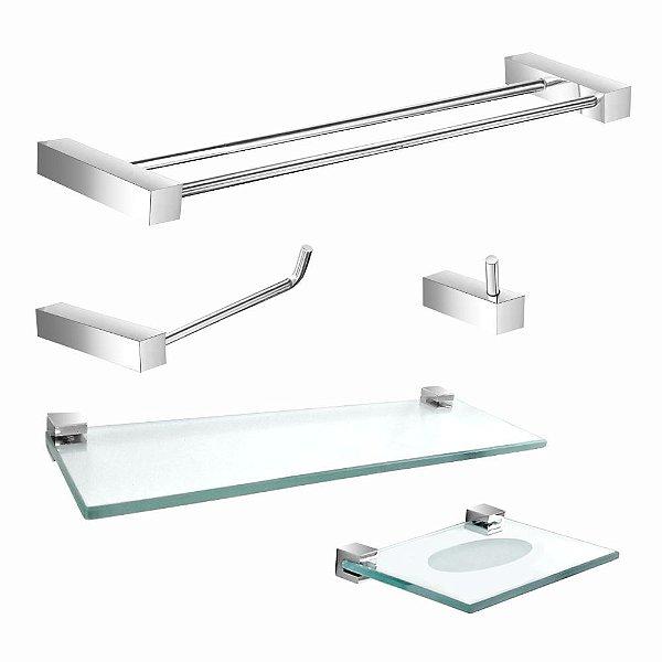 Kit Acessórios Para Banheiro Duplo com Prateleira Prátika 801PK