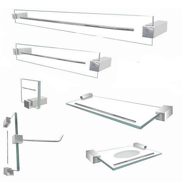 Kit banheiro de vidro acessório Exclusive 6 peças incolor Grego Metal
