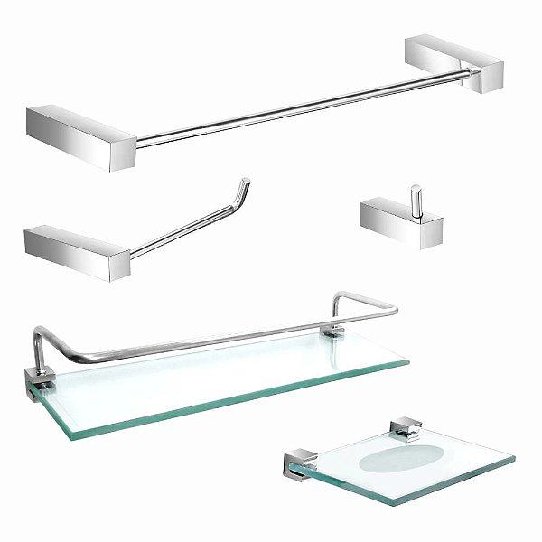 kit Acessórios para Banheiro Prateleira Proteção 5 Peças Prátika 814PK