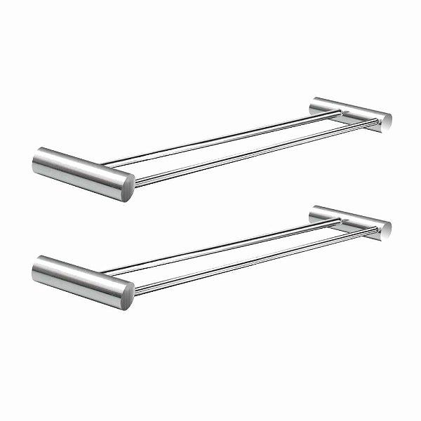 Porta Toalhas Duplo Kit 2 Peças Luxo Plus 508LP2 Grego Metal