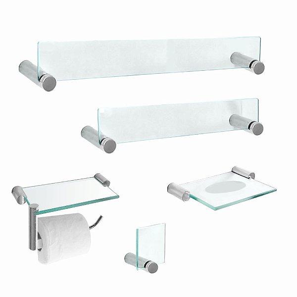 Kit Acessórios para Banheiro em Vidro 5 Peças Retrô 200RT