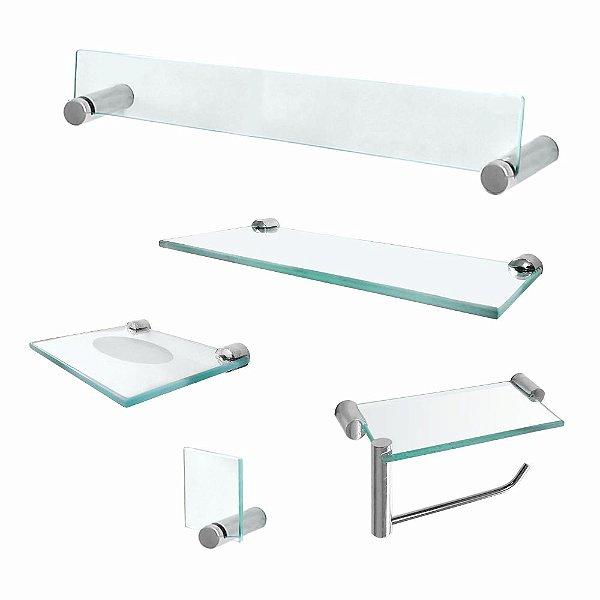 Kit Banheiro Acessórios em Vidro com Prateleira Retrô 222RT