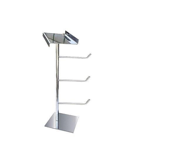 DUPLICADO - Papeleira de piso tripla com suporte para acessórios aço inox 317DCGrego metal
