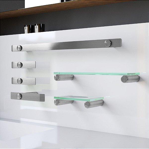Kit Acessórios para Banheiro e Prateleira Aço Inox 6 Peças 106DX Decaluxo