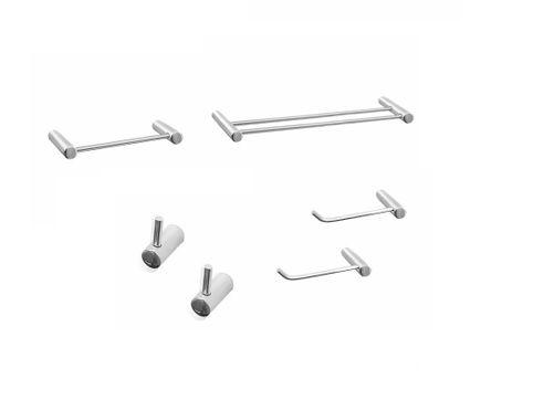 Kit de acessórios com Porta Toalhas Duplo 35cm Luxo Plus Grego Metal