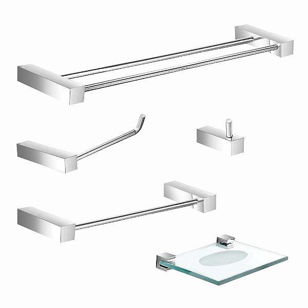 Kit Acessórios para Banheiro Suporte Duplo 5 Peças Prátika 800PKA