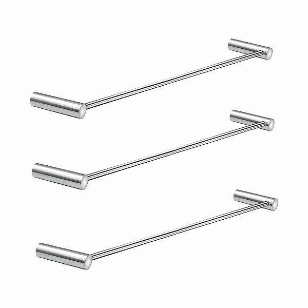 Porta Toalhas de Banho Kit 3 Peças Slim 510LS3 Grego Metal