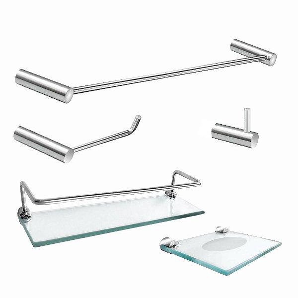 Kit de Banheiro Porta Shampoo 5 Peças Luxo Slim 502LSC