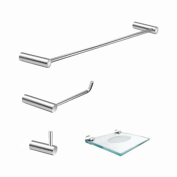 Kit de Banheiro Acessórios Metal Luxo Slim 528LS Grego