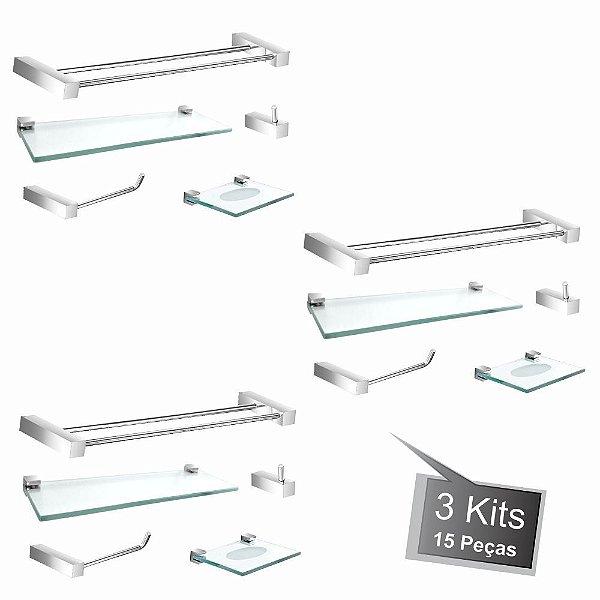 Kit Acessórios Para Banheiro 3 Kits (15 Peças) 801PK3 Prátika