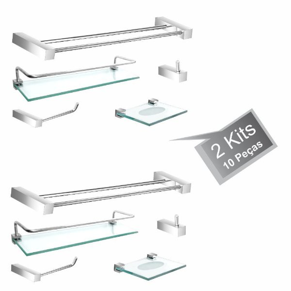 Acessórios Para Banheiro 2 Kits (10 Peças) 802PK2 Prátika