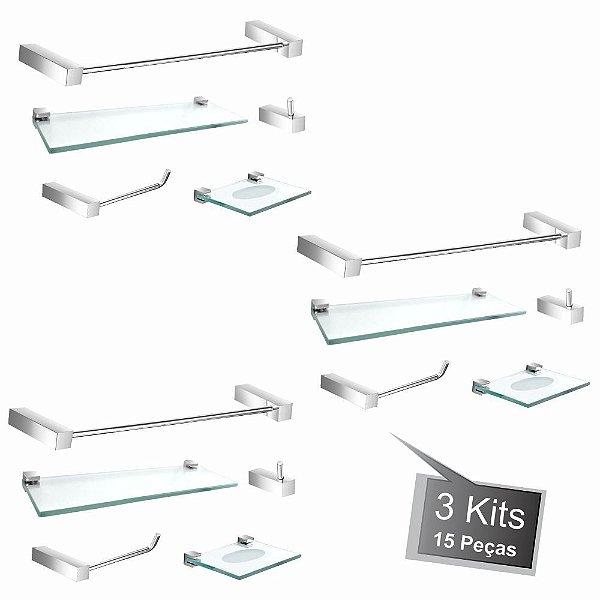 Kit Acessórios de Banheiro 3 Kits (15 Peças) 813PK3 Prátika