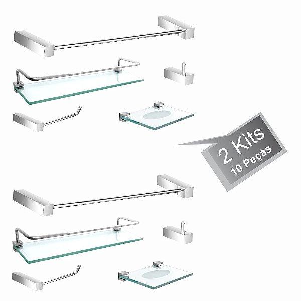 Kit Acessórios para Banheiro 2 Kits (10 Peças) 814PK2 Prátika