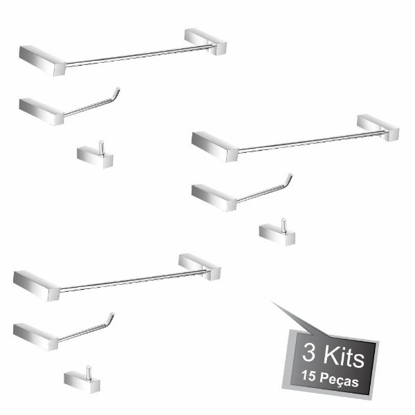 Kit Acessórios de Banheiro 3 Kits (9 Peças) 826PK3 Prátika