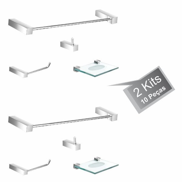 Kit Acessórios para Banheiro 2 Kits (8 Peças) 828PK2 Prátika