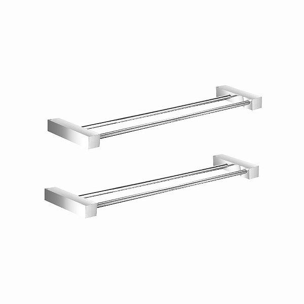 Porta Toalha Duplo 30cm Metal (Kit 2 Peças) Prátika 822PK2