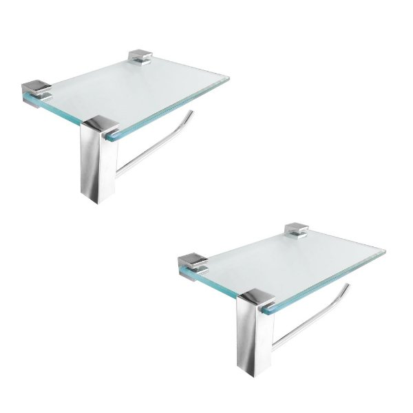 Porta Papel Higiênico Vidro Com Suporte Acessórios Kit 2 Peças 412VT2
