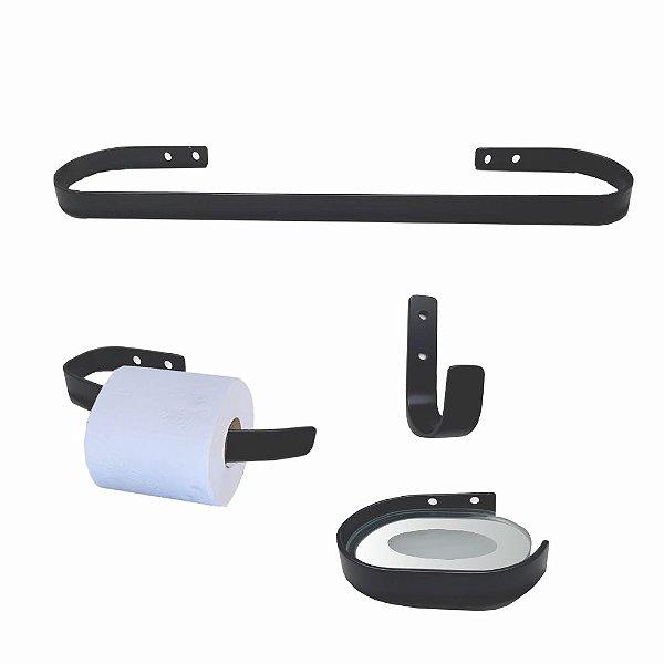Kit Acessórios para Banheiro Metal Preto Fosco 906DS Design