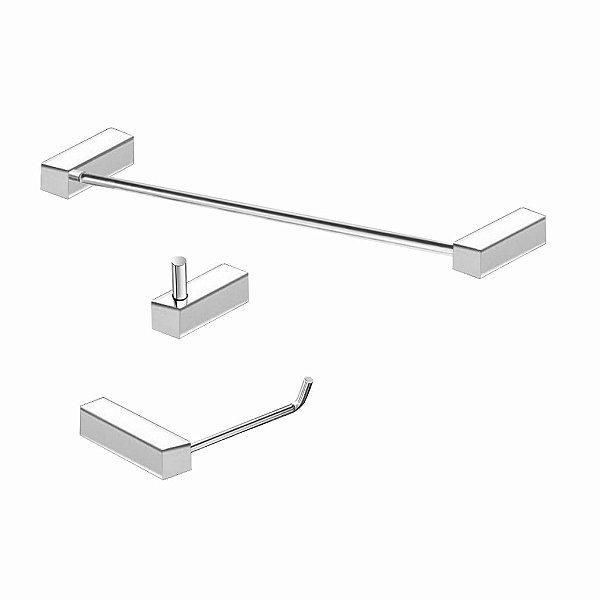 Kit de Banheiro em Aço Inox polido 3 Pçs 324VIP Grego Metal