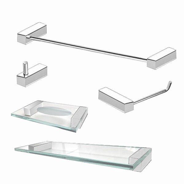 Kit de Banheiro em Aço Inox polido 5 Pçs 333VIP Grego Metal