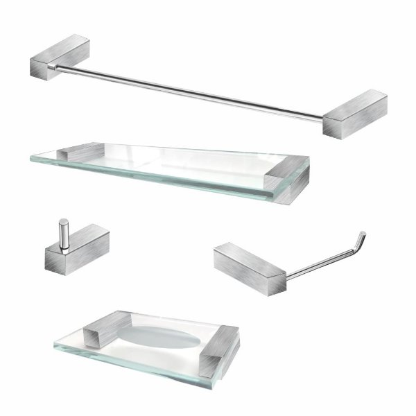 Kit Para Banheiro em Aço Inox Escovado 5 Peças 334VIP Grego