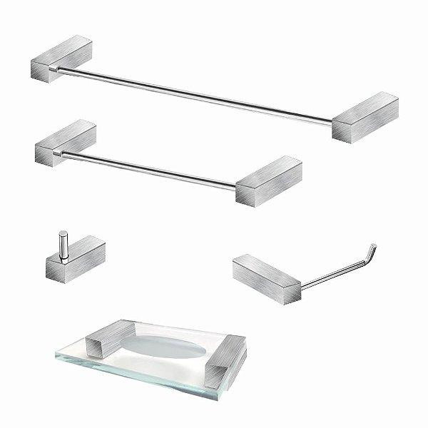 Kit Para Banheiro em Aço Inox Escovado 5 Peças 337VIP Grego