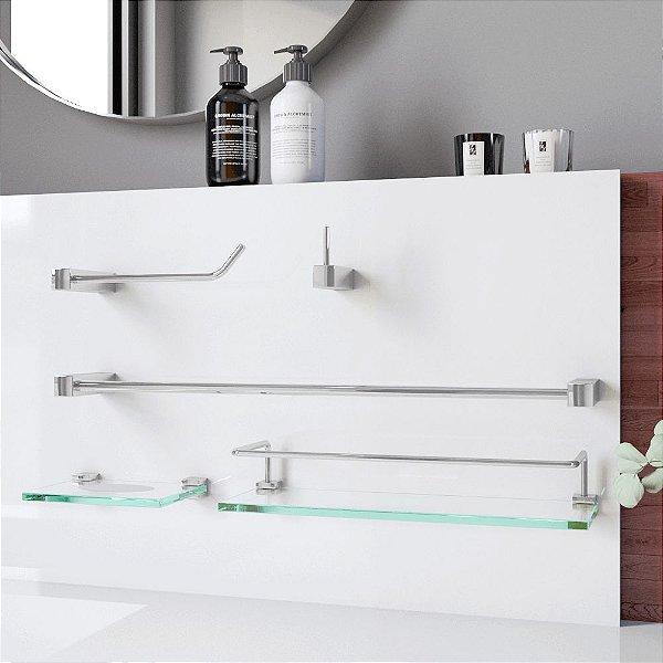 Kit de Banheiro Prateleira Proteção 5 Peças Prátika 814PK