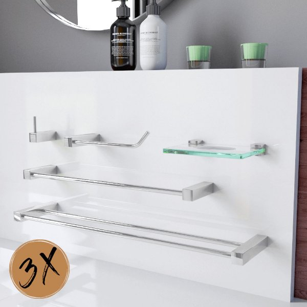 Acessórios Para Banheiro 3 Kits (15 Peças) 800PK3 Prátika