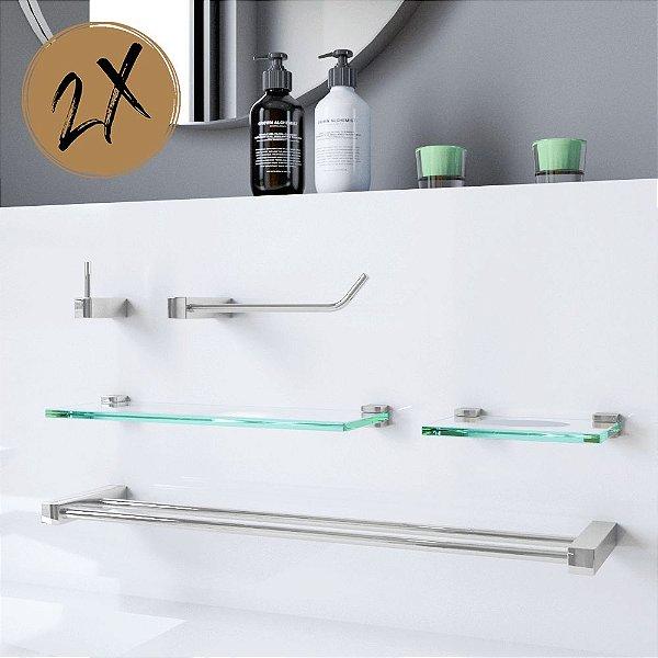 Acessórios Para Banheiro 2 Kits (10 Peças) 801PK2 Prátika