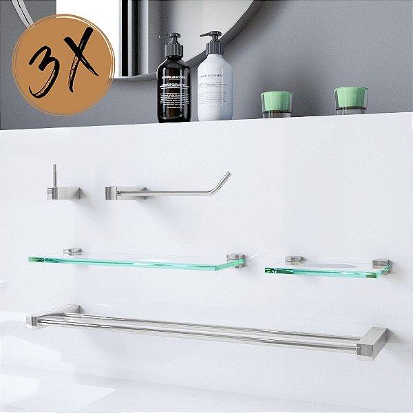 Acessórios Para Banheiro 3 Kits (15 Peças) 801PK3 Prátika