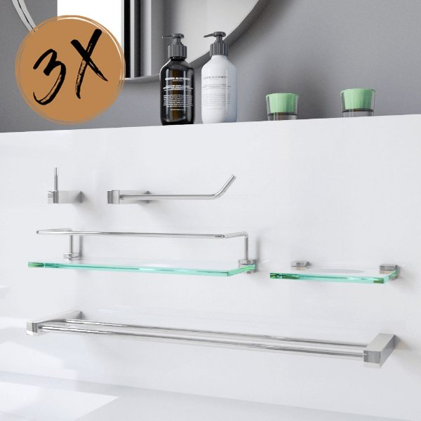 Acessórios Para Banheiro 3 Kits (15 Peças) 802PK3 Prátika