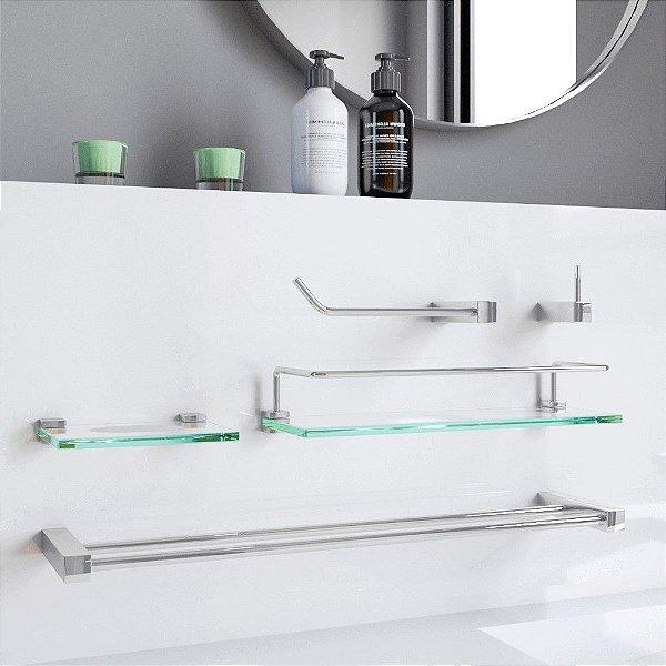 Acessórios Banheiro Duplo Prateleira Proteção 5 Peças 802PKA