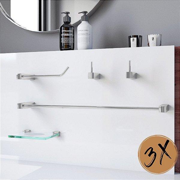 Kit Acessórios de Banheiro 3 Kits (15 Peças) 825PK3 Prátika