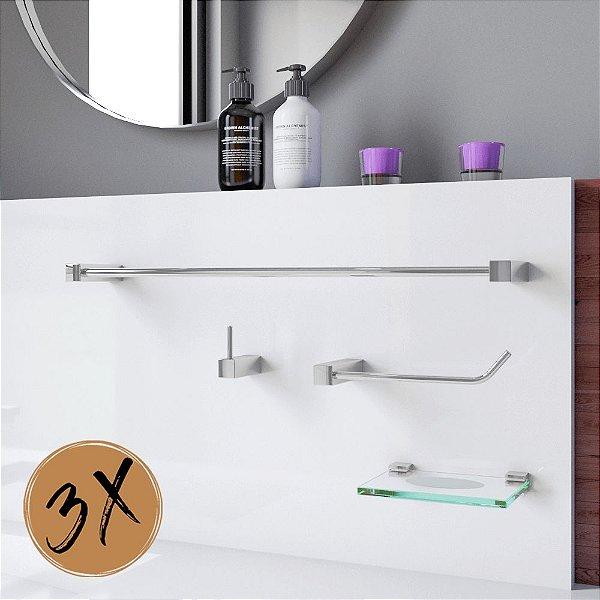 Kit Acessórios de Banheiro 3 Kits (12 Peças) 828PK3 Prátika