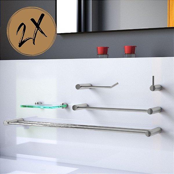 Kit Acessórios Banheiro Duplo (2 Kits) 10 Peças Plus 503LP2