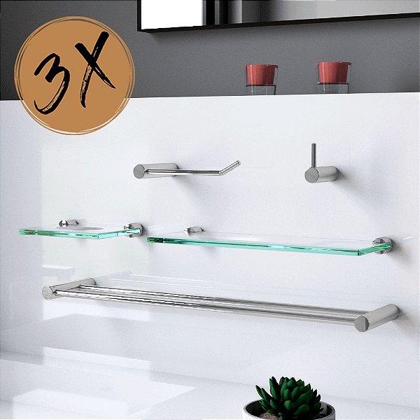 Kit para Banheiro Prateleira (3 Kits) 15 Peças Plus 504LP3